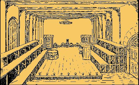 Interior of the first Blackfriars Theatre  The #First #Blackfriars.  Reconstruction by Effie W. Best.  The stage is set for a performance of Lyly's Campaspe. Courtesy of Michael Best, Shakespeare's Life and Times.