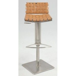 Chintaly Imports Web Style Seat and Back Pneumatic Gas Lift Adjustable Swivel Stool, Brushed Stainless Steel/Camel