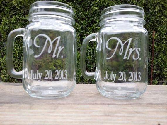 A pair of Bride and Groom Custom Etched Mason Jar Wedding mugs 16 oz.