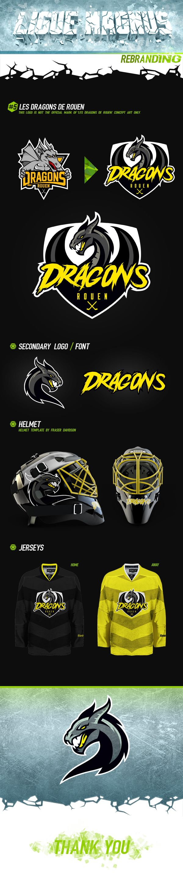 """This logo is not an official mark of """"Les Dragons de Rouen"""" or Ligue Magnus. This is a concept art only."""
