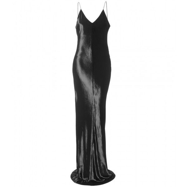 T by Alexander Wang Panne Velvet Cami Long Dress ($305) ❤ liked on Polyvore featuring dresses, gowns, alexander wang, black gown, long dress, women, long dresses, long maxi dresses, black camisole and black ball gown