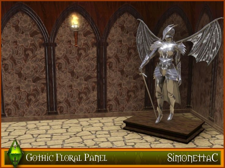 Gothic style wooden panels, inlaid with a floral patterned leather. This wall is taken from the Generations expansion pack. I have changed the original patterns and experimented with colours, saturation, gamma correction and light. This would look fabulous in any Castle, Gothic or medieval builds.