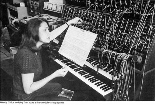 Wendy Carlos working on the Tron score. Photograph taken by Robert Moog.