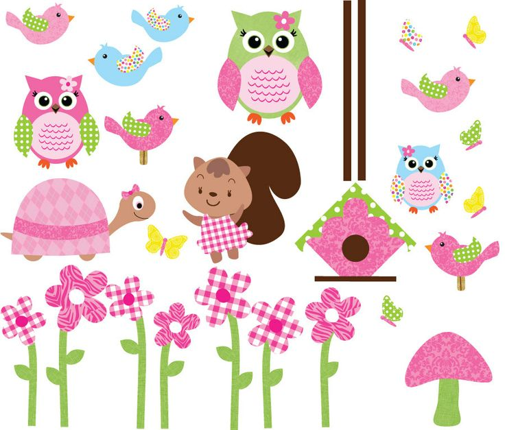 Girl Owl Decals, Set of Girl Owls, Owl Wall Decals, Owl Wall Stickers (Mega Pack Tickled Pink Owl Set). $30.00, via Etsy.