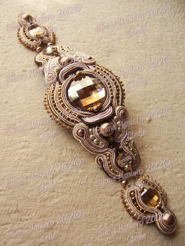 Coffee Time Bracelet handmade by Eliana Maniero: Soutache bracelet in cream, ivory, pink & coffee Swarovski bronze & golden shadow crystals & pearls / http://lestelledieli.blogspot.ca