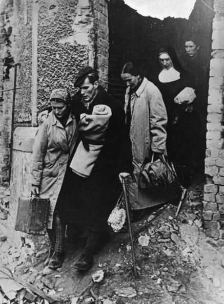 October 1944: Resistance fighters after the defeat of the Warsaw uprising. (Photo by Keystone/Getty Images)