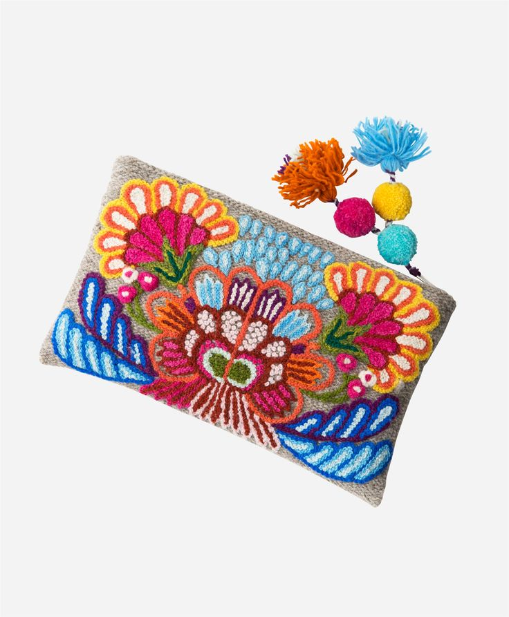 Noonday Collection, Fair Trade, Accessories, Artisan, Ethical Fashion, Noonday Style, Handmade, Bag, Wildflower Clutch, 100% Wool, Zip Closure, Peru