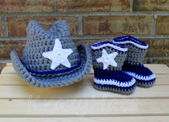 Crochet Dallas Cowboys hat and boots. by KrazyHats1 on Etsy, $42.99