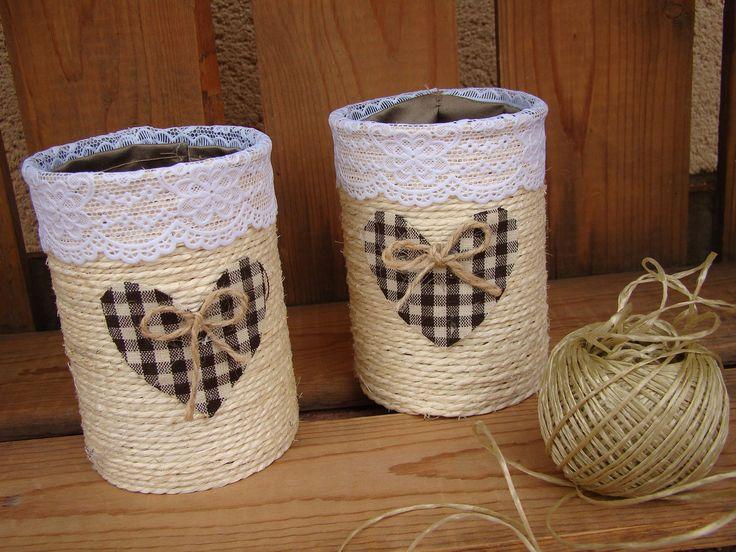 Pot à crayon ou pinceaux boîte de conserve coeur tissu : Boîtes, coffrets par alittlecreations