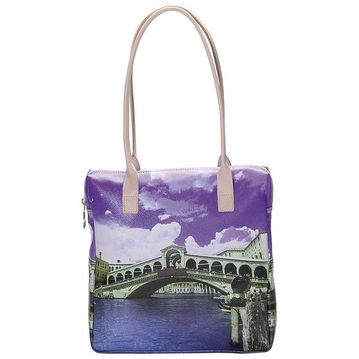 Shopper handbag in printed fabric with leather shoulder straps and lining inside. Astore follows here the inspiration of its territory, depicting venetian atmosphere and the magic Rialto bridge on different surreal shades. Colors in violet shades on venetian image and pattern panorama.