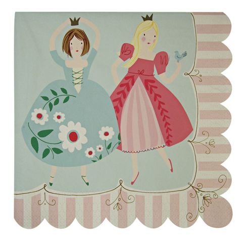 I'm a Princess Napkins ~  It's time to brush that luxurious hair and put on your very best gown because all pretty princesses are being summoned to the princess party!  These party napkins come decorated with pretty princesses surrounded with bright patterns.  The napkins are finished with a striped, scallop edge.  Pack contains 20 napkins £4.50