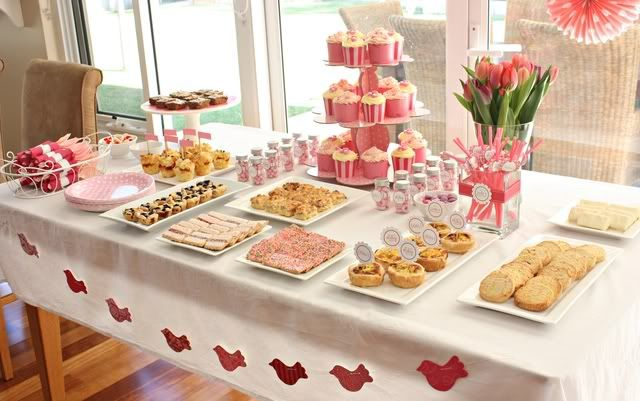 """A pretty """"buffet"""" table.  I'm not sure I want to do buffet, but I can still use colors and food ideas."""