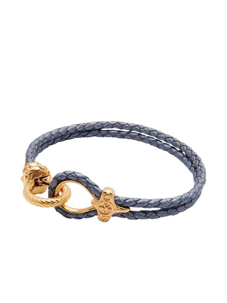 Grey Leather With Gold Lock | Nialaya Jewelry | nialaya ...