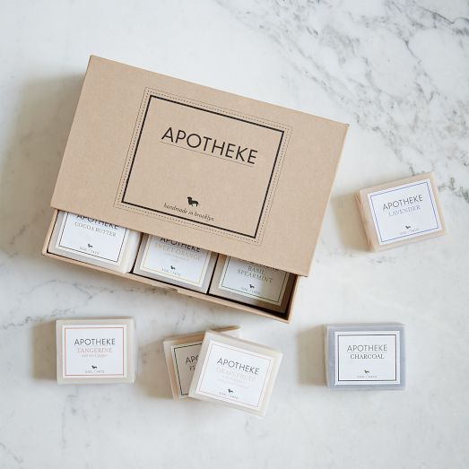 Featuring soaps handcrafted in small batches, this Apotheke Soap Set is the ultimate gift for the soap lover. Created from steam-distilled essential oils and botanicals, this set contains no preservatives, petroleum or parabens.