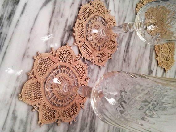 6 Venetian Lace coaster,  Elegant Coaster, Hanwoven coaster, sousplat, placemats, Wedding gift, Handmade, Italian coster ser,  tablecloth,