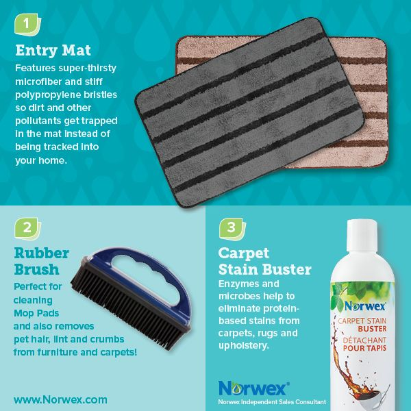 Norwex (1) Entry Mat, (2) Rubber Brush, (3) Carpet Stain Buster. For Facebook parties, online events and marketing.