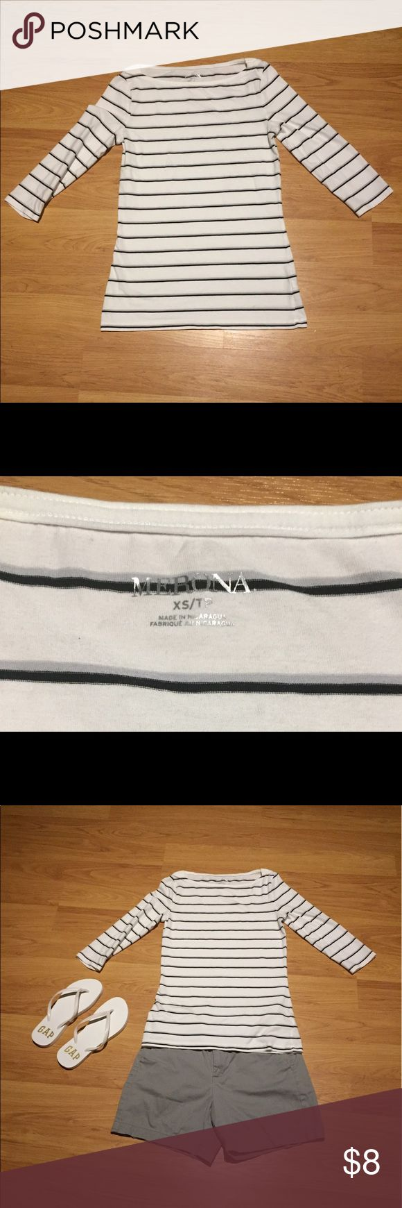 Merona boat neck top Merona boat neck top.  3/4 length sleeves.  Worn and washed once.  It is white with black and gray stripes Merona Tops