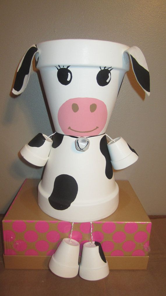 'Planter Pot Person –Cow – Garden Friend' planter are made from terra-cotta clay pots & stand aprox 10 tall.    - made by GardenFriendsNJ on Etsy