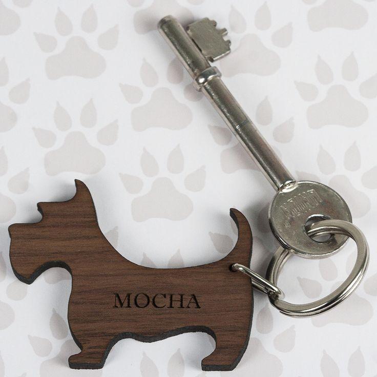 Walnut Wood Dog Shaped Keyring - yourgifthouse
