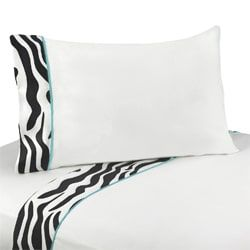 Sweet JoJo Designs 200 Thread Count Turquoise Funky Zebra Bedding Collection Sheet Set
