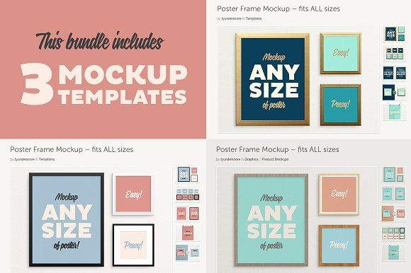 Poster Frame BUNDLE –Fits All Sizes by w/studio on @creativemarket