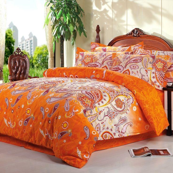 Bright Orange and White Novelty Unique Western Paisley Park Print 100% Cotton Full Size Bedding Sets