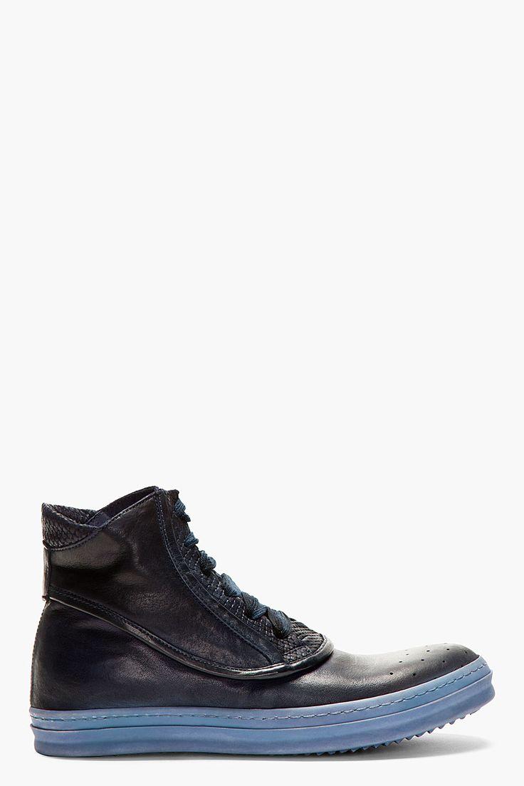 OFFICINE CREATIVE Navy Snakeskin-Embossed High-Top Sneakers