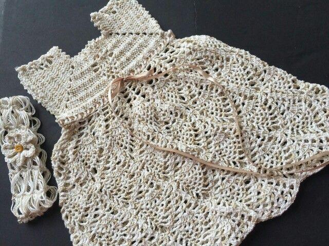 Vestido para bebé tejido en algodón tallas de 0 a 1 año
