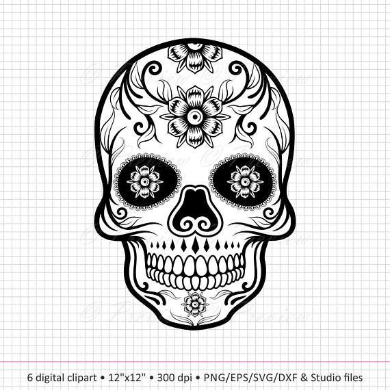 Buy 2 Get 1 Free Digital Clipart Sugar Skull Monogram Etsy Skull Coloring Pages Digital Clip Art Digital Clip Art Set