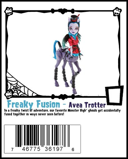 """Avea Trotter Freaky Fusion Monster High Doll - Avea is one of the """"hybrid"""" students of Monster High. She is a hybrid of a Harpy (mother) and a Centaur (father). She has blue hair tied in a ponytail. She has the wings of a Harpy with the horse half of a Centaur. Her skin is purple. She has centaur ears. She is described as stubborn and opinionated and as interrupting a lot. She  made her debut in """"Freaky Fusions."""""""