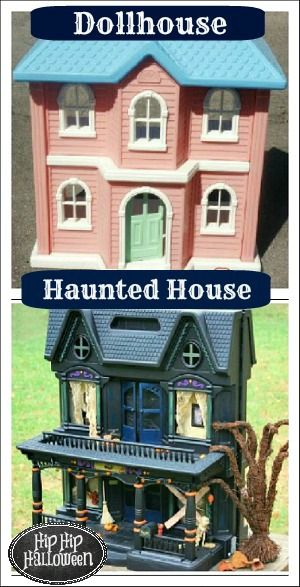 Halloween decorations to make - I spray painted an old doll house