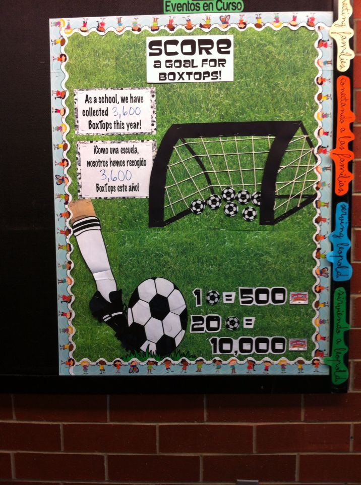BoxTops Progress Bulletin Board. Money goes towards new soccer goals.