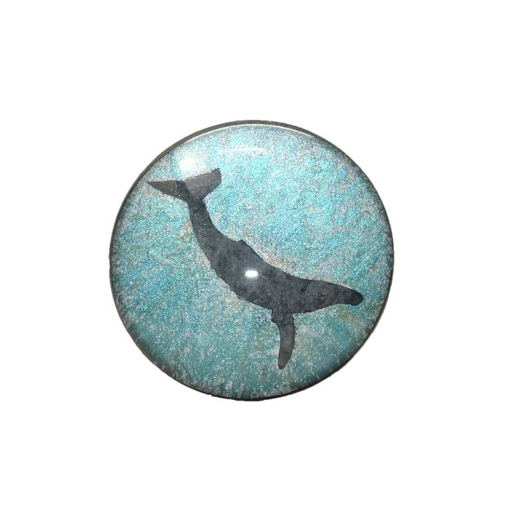 """*SOLD* Humpback Whale Hand Painted Round Glass Cabochon, 1.5"""" (38mm), Pendant, Unique, Key Chain Charm, Cosplay Jewelry, Fantasy Art by TheChaoticMindStudio on Etsy"""