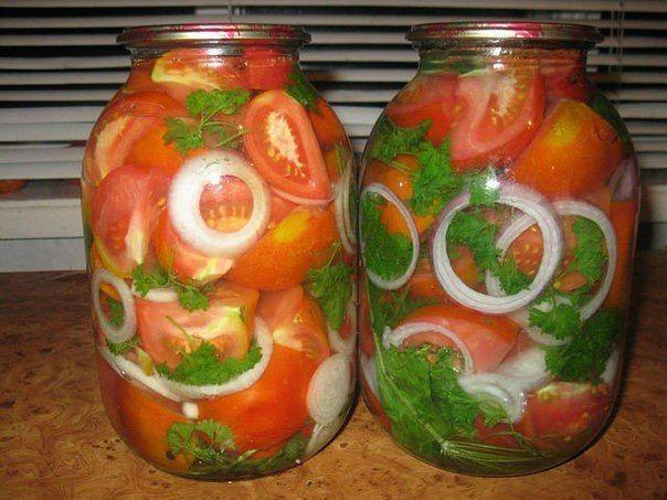 Лучшие кулинарные рецепты: Помидорные дольки - маринованные помидоры