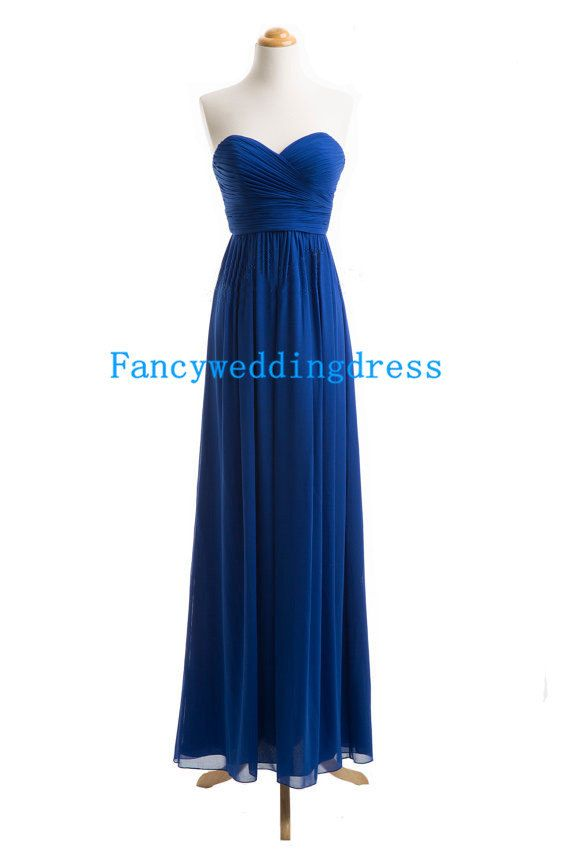Dunkel blau a-line Strapless Sweetheart bodenlang langes Kleid Chiffon Kleid Brautjungfer Kleid Stile Abendkleid formale Ballkleid on Etsy, 74,54 €