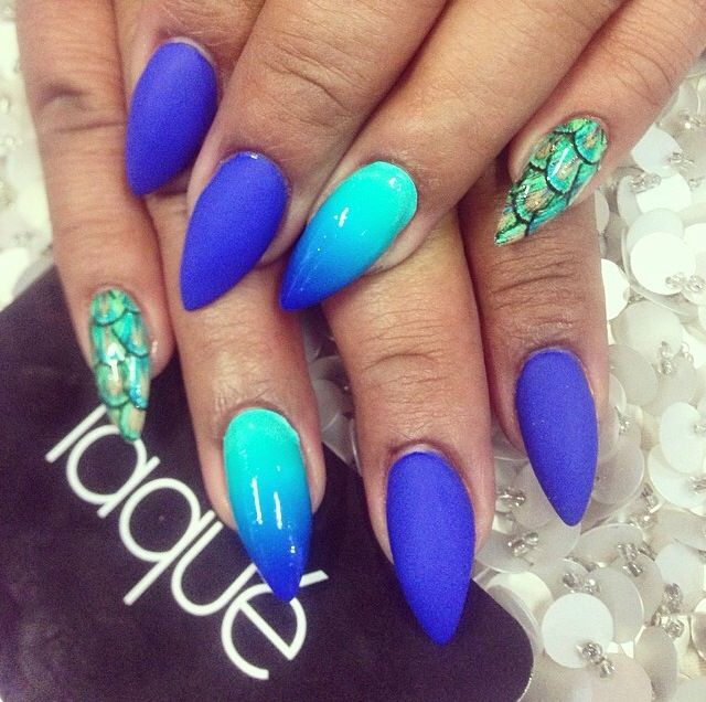 #ombre #peacock #nails #blue #green #matte