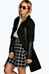 Tilly PU Sleeve Zip Front Jacket from #Boohoo on discounted price. Use promotional Codes and coupon Codes.