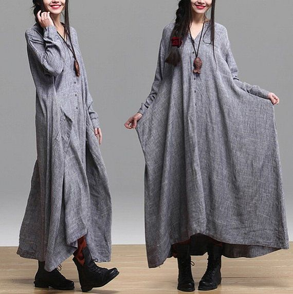 gray color Loose Fitting Linen long Sleeve T Shirt Blouse for Women top - Spring Dress spring clothes loose cape long dress maxi dress (338)...