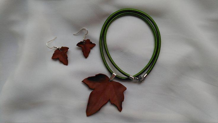 Joyería botánica. Conjunto de collar y pendientes de hojas secas. Otoño. Moda natural de FenixArteSana en Etsy