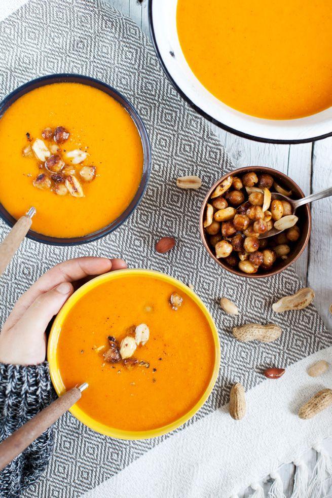 Soupe de Patate douce, cacahuète et pois chiche