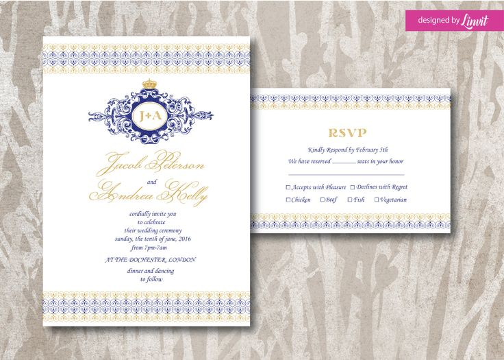 Dear Client, This is a digital print ready wedding invitation. *This listing can be printed at home or print through a professional printing shop. If needed we can adjust the size, the font types and also the colors of the preferred design. All designs are high resolution (300 DPI, CMYK) All wedding invitations are designed by Linvit. You can check out all our items as we create invitations in different styles, such as floral, watercolor, luxury, royal, rustic, whimsical, beach themed and a…