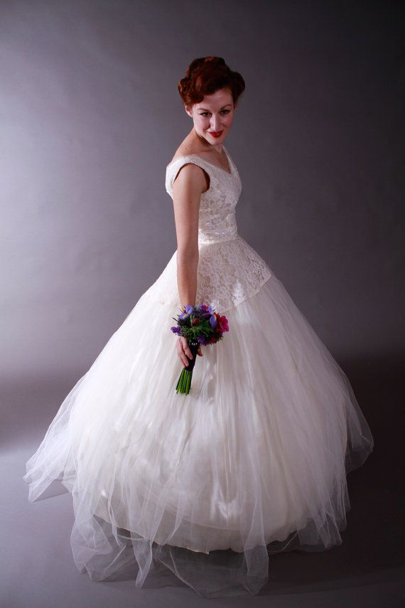 Vintage 1950s Wedding Gown  Glamorous Ivory Tulle and by FabGabs, $324.00