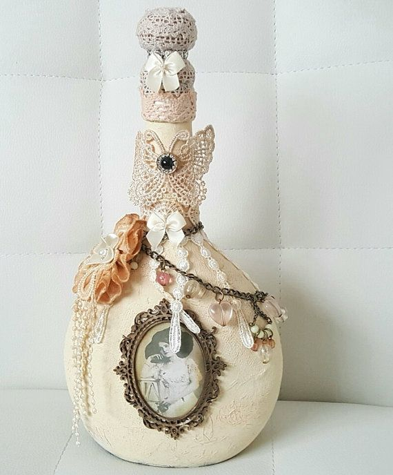 Decoupage vintage style bottle , Handpainted bottle , Glass wine bottles , Altered bottles , Shabby chic , Gift for her , Shabby chic decor