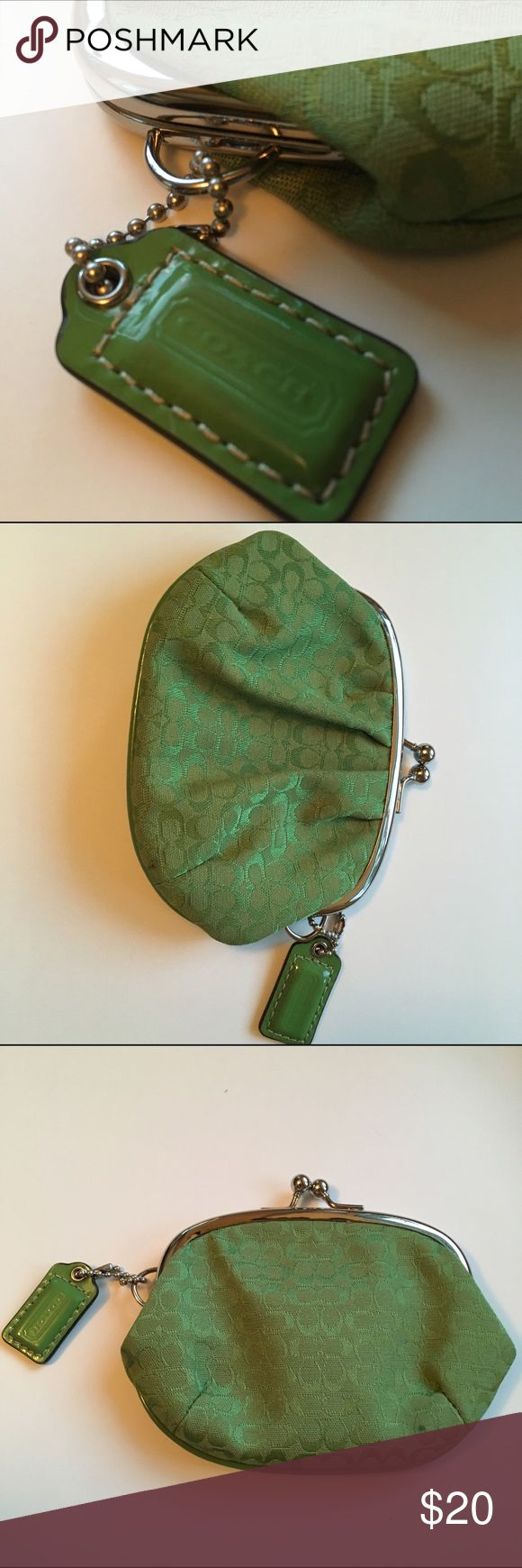 Coach - Coin purse Bright green with signature print. Excellent condition as it was used minimally. Coach Bags Wallets