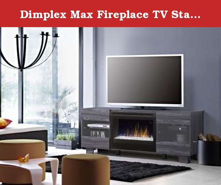 Dimplex Max Fireplace TV Stand in Carbonized Walnut. Scandinavian style with a low profile design creates the minimal, yet sleek appearance of the Max Media Console. The distinctive cabinet doors feature glass inserts that allow a view into the storage area, which is also ideal for electronics. Strong, simple legs provide an elegant finishing touch and raise the overall height to optimize the viewing position.A blend of technology, artistry and craftsmanship - the patented Dimplex flame...