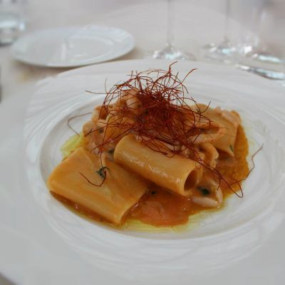 Paccheri con Seppie, Calamaretti e Gamberi.. Paccheri with cuttlefish, squid and prawns.