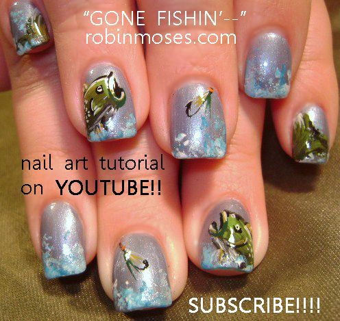 Nail-art by Robin Moses: GONE FISHIN fishing nail art tutorial design,