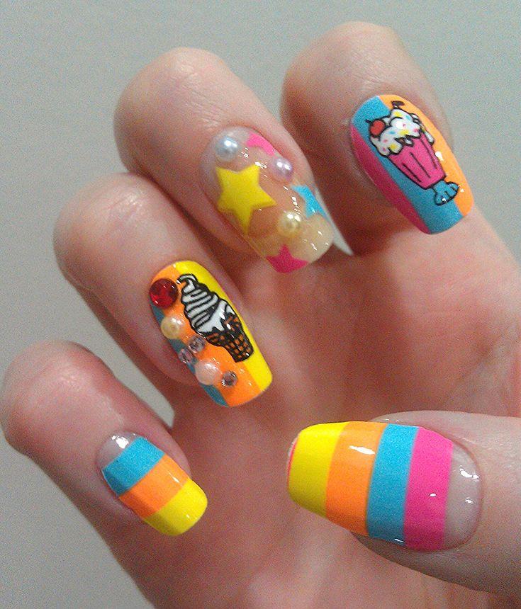 Kawaii food nails | kawaii nail art | Pinterest