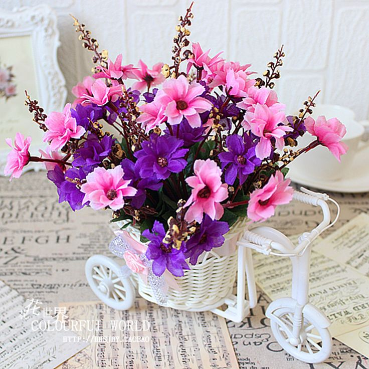 Fashion Violet Vintage Autumn Collection Artificial Silk Flowers + Bicycle Suit For Home Dining Table Wedding Decorations