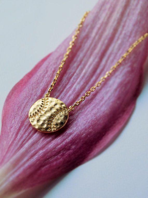 Baseball Necklace Gold